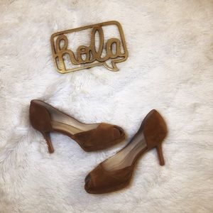 SHOES OF PREY Suede Peep-Toe Pumps